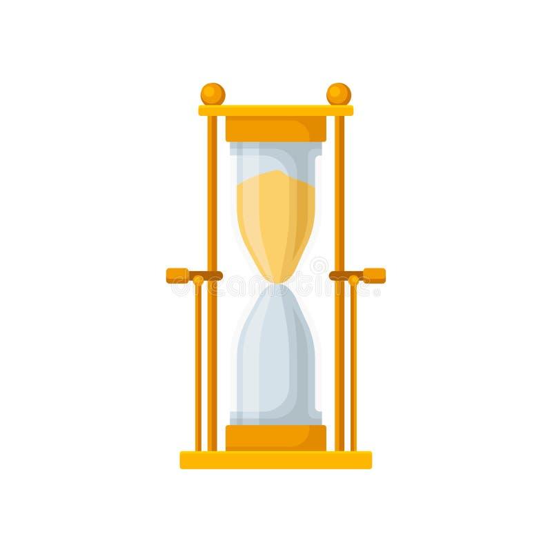 Golden sand hourglass, sandglass device for measuring time vector Illustration on a white background stock illustration