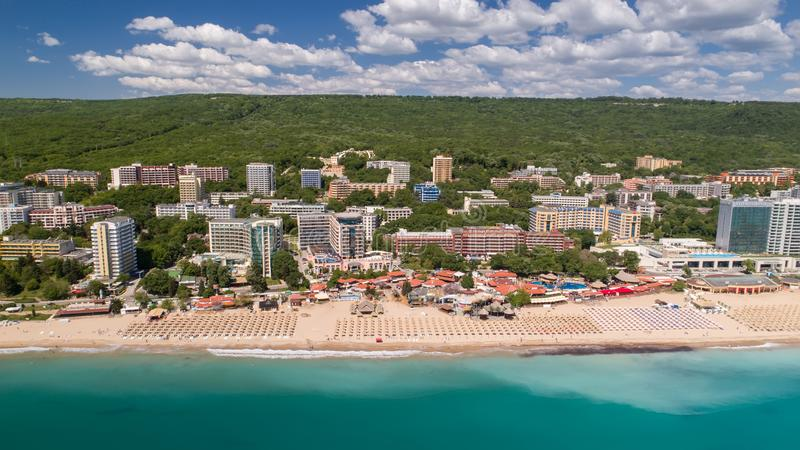 GOLDEN SANDS BEACH, VARNA, BULGARIA - MAY 19, 2017. Aerial view of the beach and hotels in Golden Sands, Zlatni Piasaci. Popular s royalty free stock photography