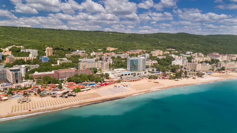 GOLDEN SANDS BEACH, VARNA, BULGARIA - MAY 19, 2017. Aerial view of the beach and hotels in Golden Sands, Zlatni Piasaci. Popular s stock photography