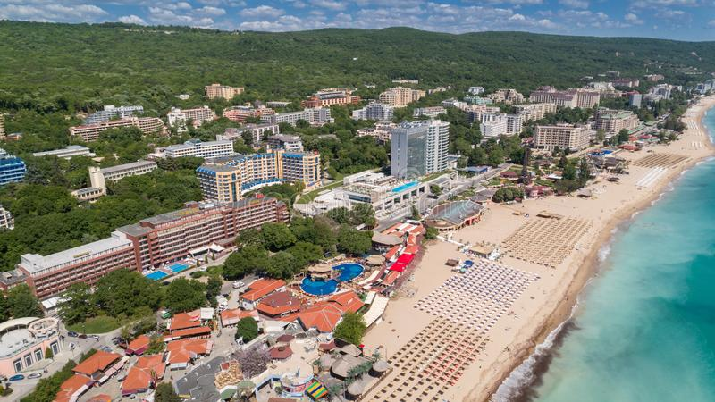 GOLDEN SANDS BEACH, VARNA, BULGARIA - MAY 19, 2017. Aerial view of the beach and hotels in Golden Sands, Zlatni Piasaci. Popular s stock photo