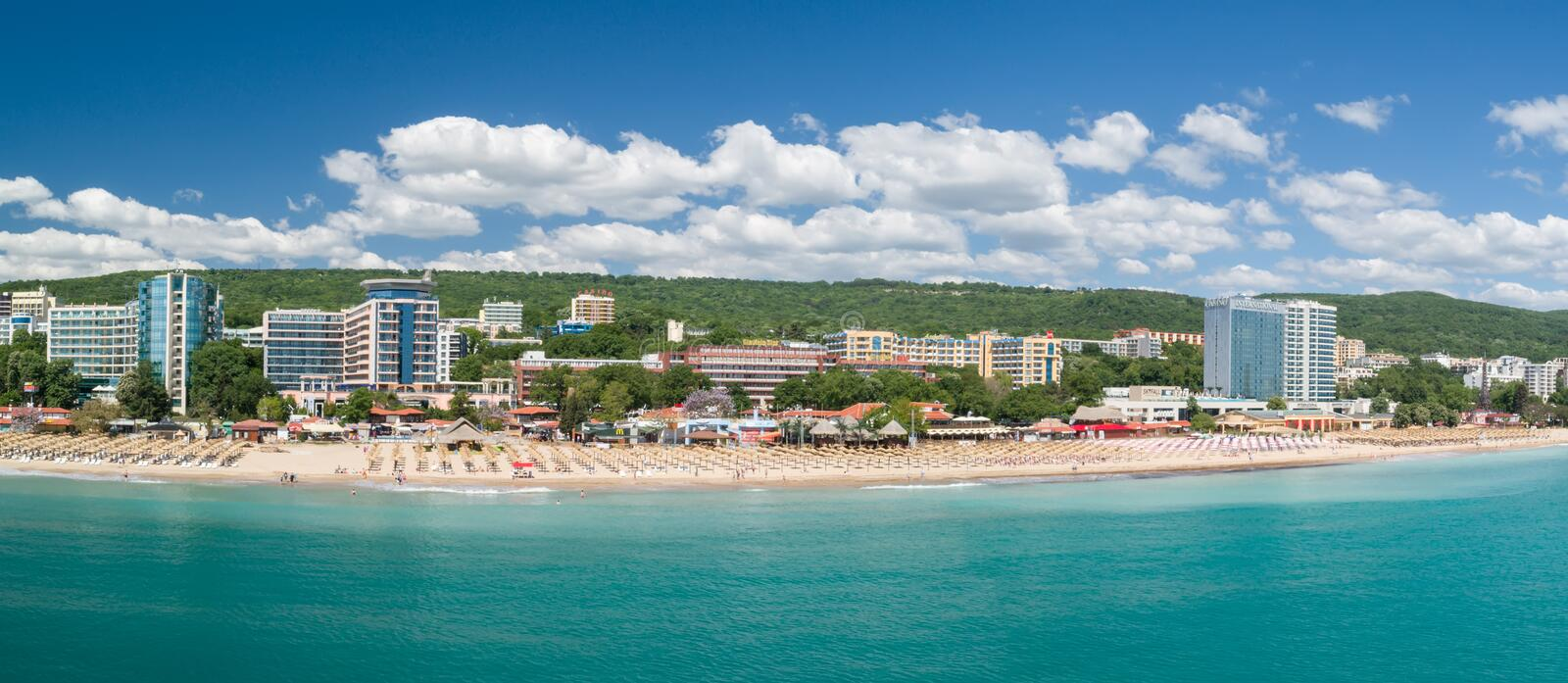 GOLDEN SANDS BEACH, VARNA, BULGARIA - MAY 19, 2017. Aerial view of the beach and hotels in Golden Sands, Zlatni Piasaci. Popular stock photo