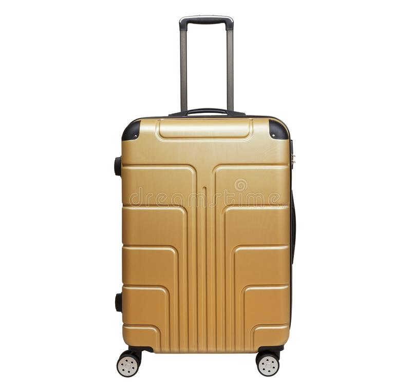 Golden sandy suitcase isolated on white background. stock images
