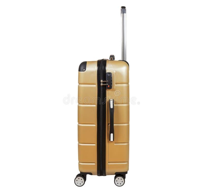 Golden sandy suitcase isolated on white background. royalty free stock image