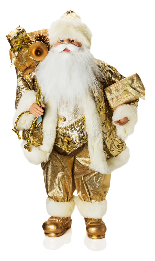 download golden santa claus toy isolated on the white background stock image image of winter - White Santa Claus