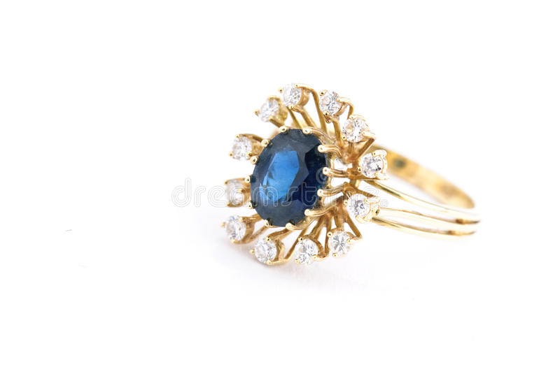 Golden sapphire ring royalty free stock photo