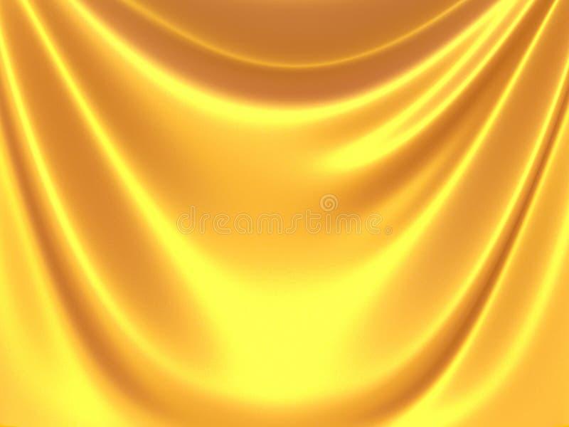 Golden satin silk waves yellow background. 3d render illustration stock illustration