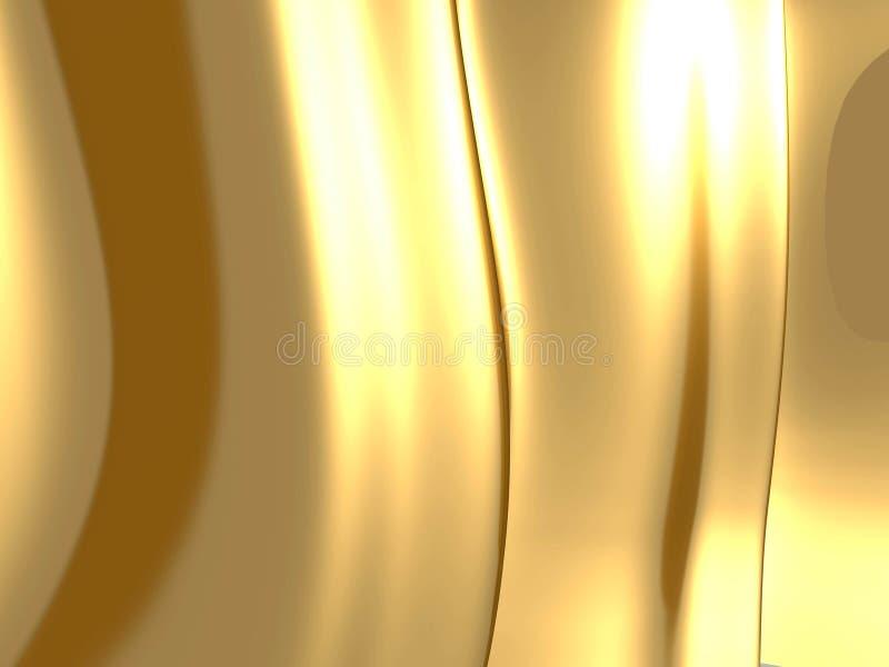 Golden satin silk waves yellow background. 3d render illustration royalty free illustration