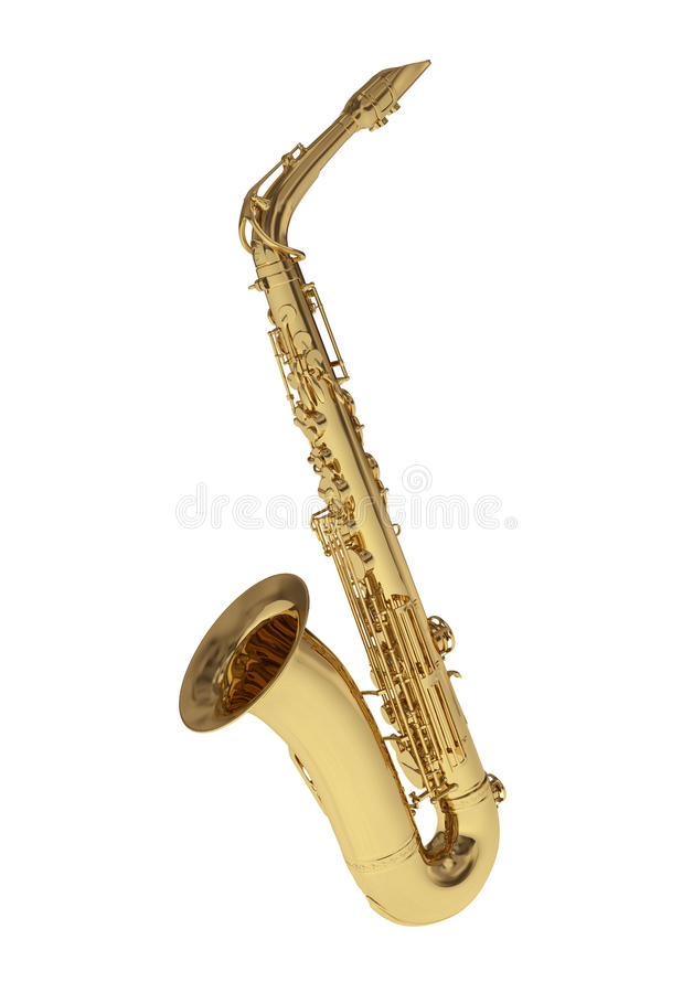 Golden saxophone. On white background royalty free stock photography