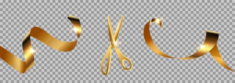 Golden schaar snijdt lint realistische illustratie stock illustratie