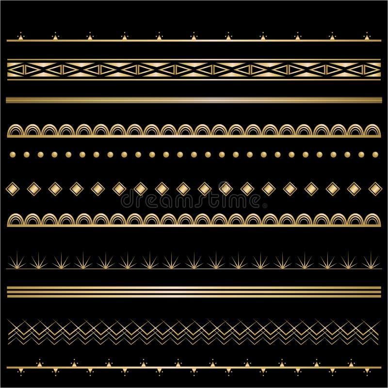 Golden-schwarzer Satz Art Deco-Schablone Rahmen für Dekoration lizenzfreie abbildung