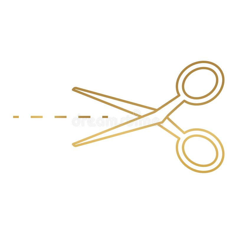 Golden scissors with cut line icon. Vector illustration royalty free illustration