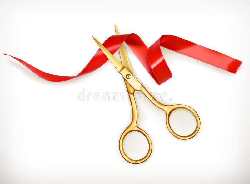 Golden scissors cut the red ribbon stock illustration