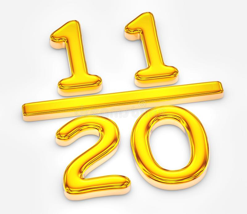 Golden score of eleven out of twenty illustration. Three dimensional rendered illustration of unique model vector illustration