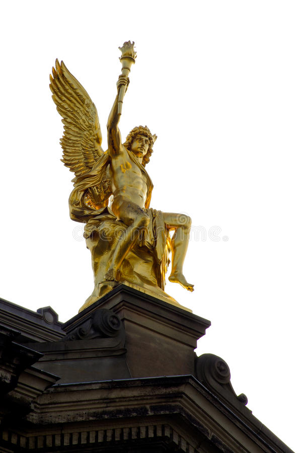 Golden Sculpture of Apollo at Dresden Alstadt royalty free stock images