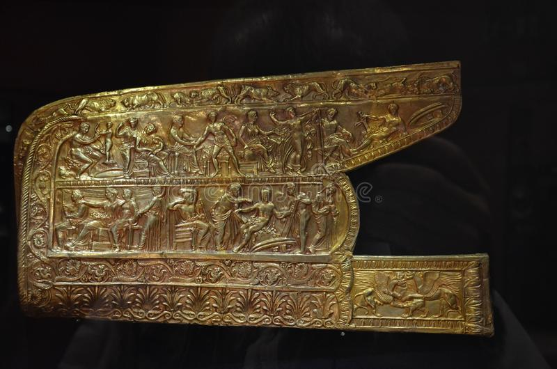 Golden Scythian artifact, archeology, golden ancient artifacts, Museum of jewelry of Ukraine, Kiev royalty free stock image