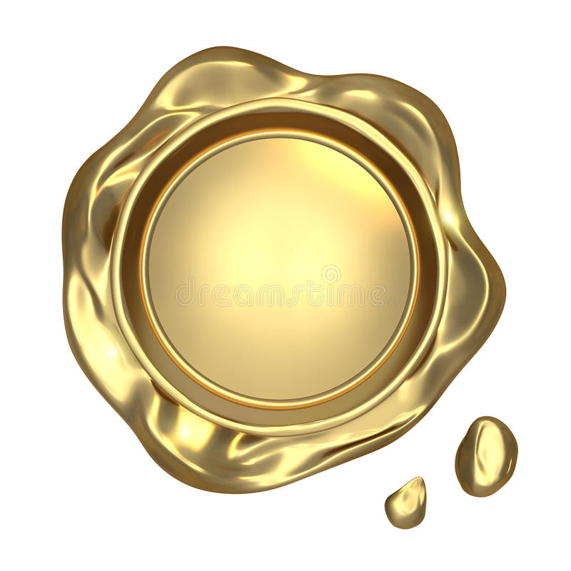 Golden seal wax. Isolated on white background vector illustration
