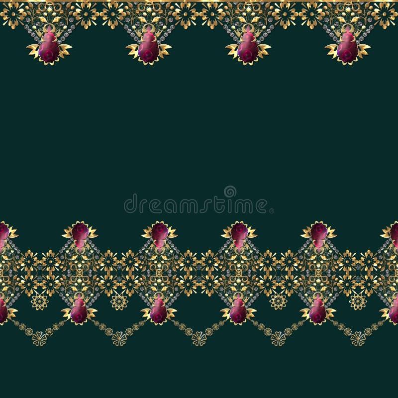 Golden seamless eastern lace pattern stock illustration