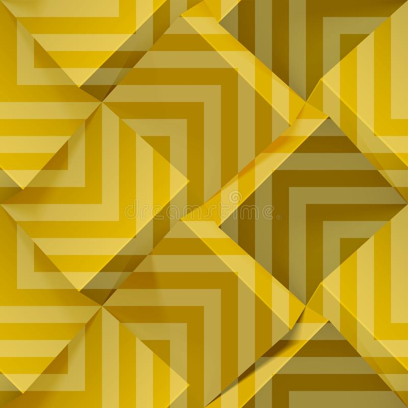 Golden seamless geometric pattern. Realistic 3d cubes with strips. Vector template for wallpapers, textile, fabric royalty free illustration
