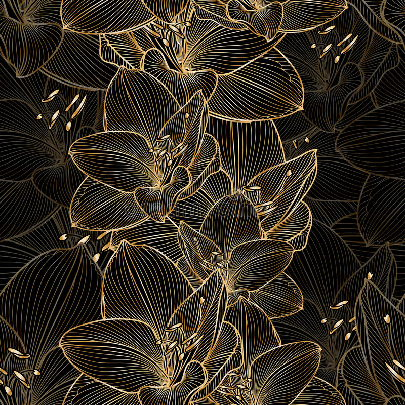 Golden seamless hand-drawing floral background with flower amaryllis stock image