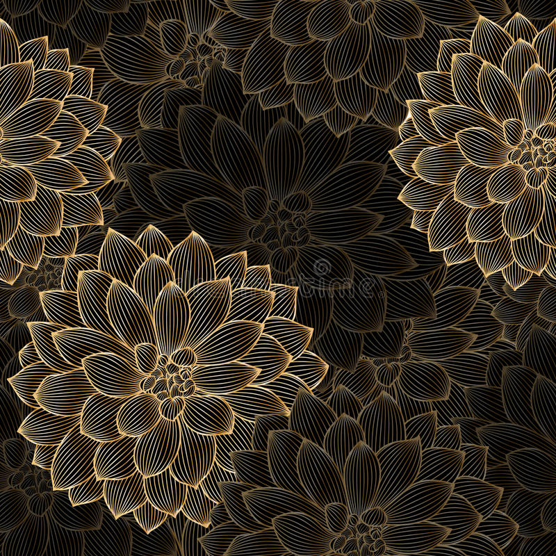 Golden seamless hand-drawing floral background with flower dahlia stock photography