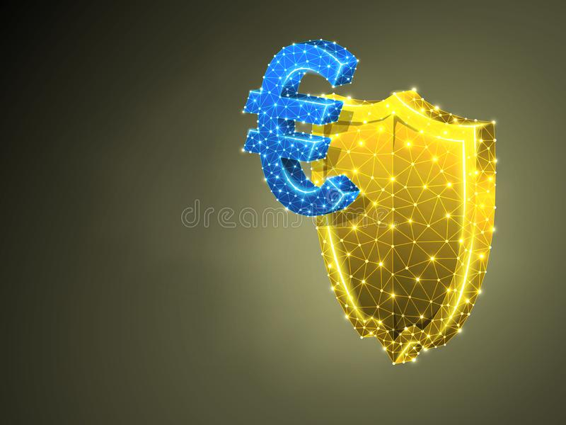 Security shield. Euro currency abstract colorful 3d Polygonal Vector business safery, money protection concept. Low poly royalty free illustration