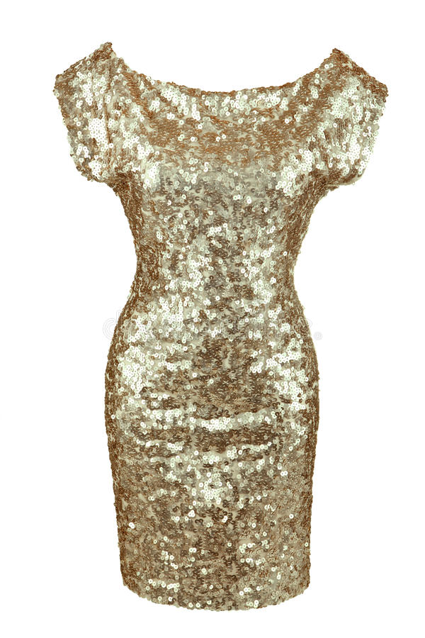 Golden sequin dress. Isolated on white royalty free stock photography