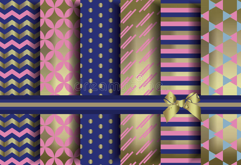 Golden set of abstract pattern ornaments stock illustration