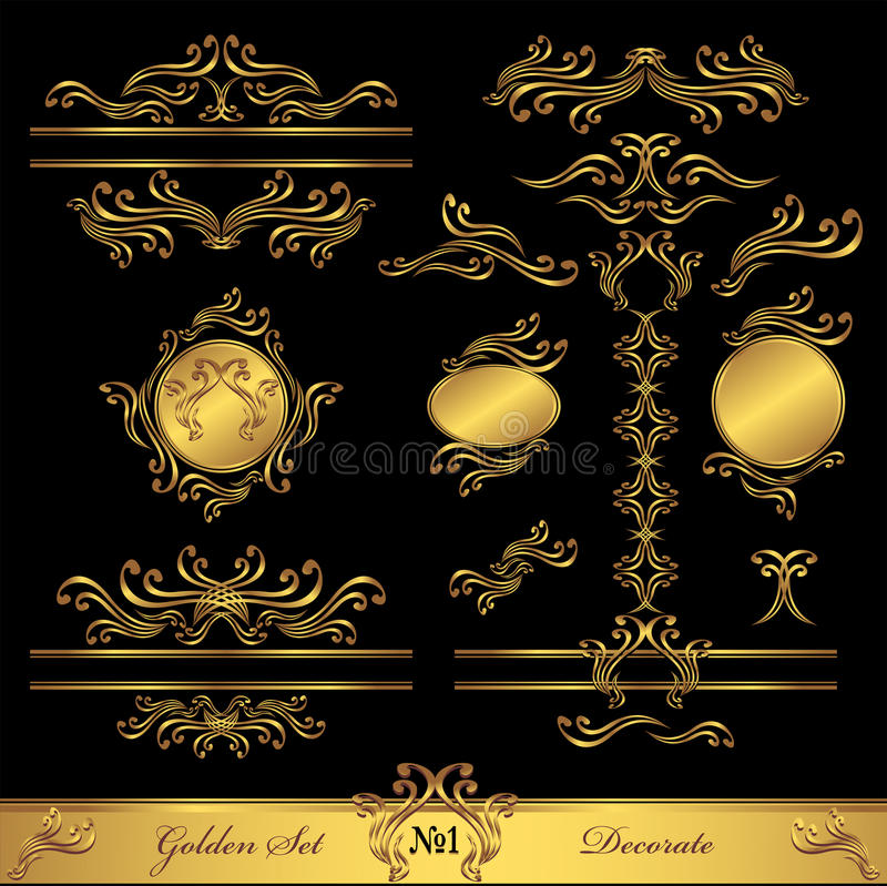 Golden Set Calligraphic And Decorate Elements Royalty Free Stock Photography