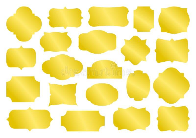 Golden set of different shapes vintage frames, collection blank retro labels and badges. Vector. Illustration stock illustration