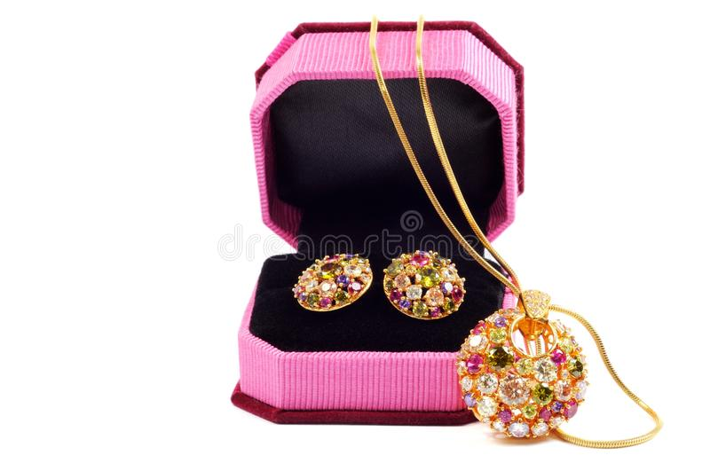 Download Golden set with gems stock image. Image of object, accessory - 24497513