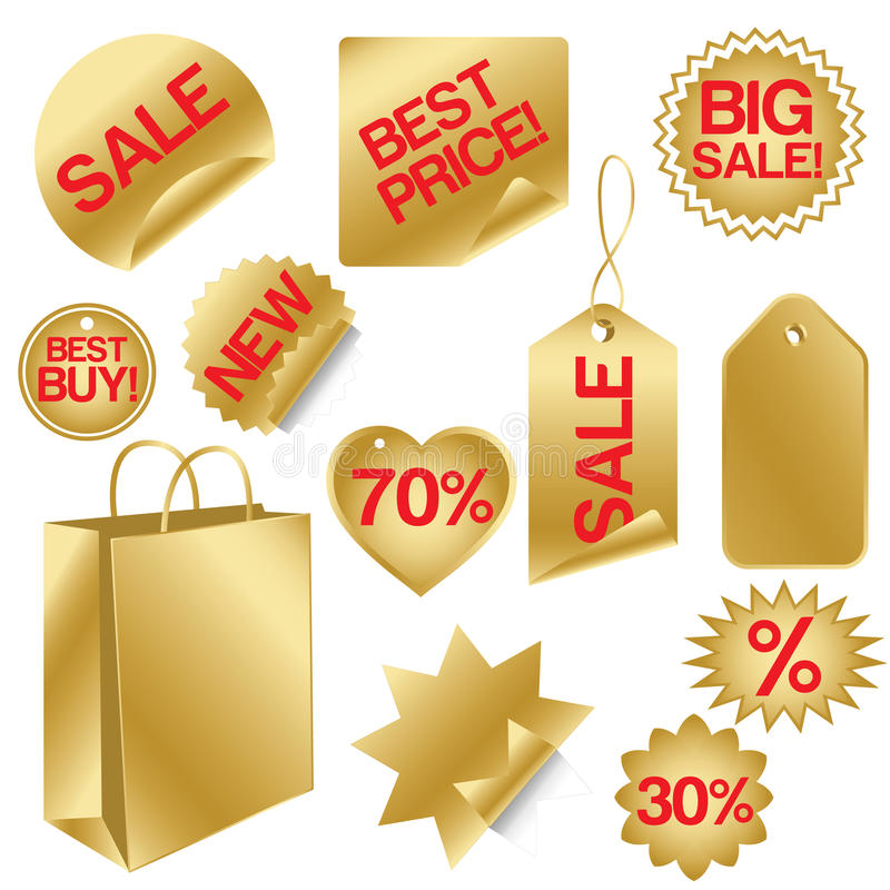 Download Golden set of sale icons stock vector. Image of flyer - 12850610