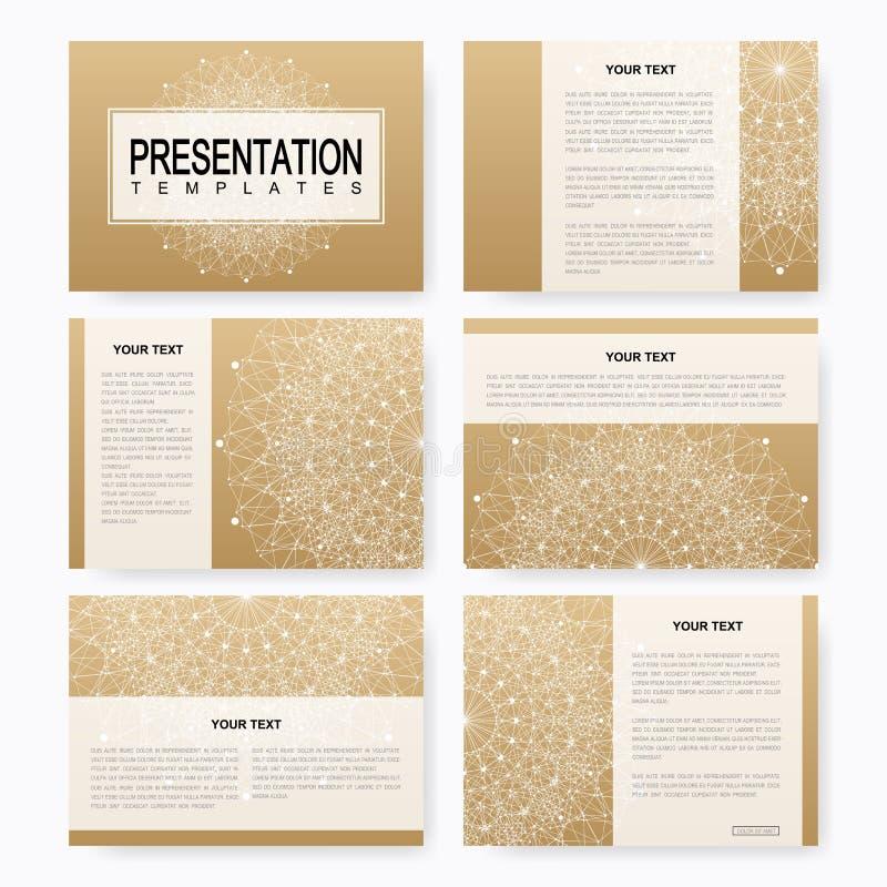 Golden set of vector templates for multipurpose presentation slides. Brochure, Leaflet, flyer, cover, magazine or annual report. Business, science, medicine vector illustration