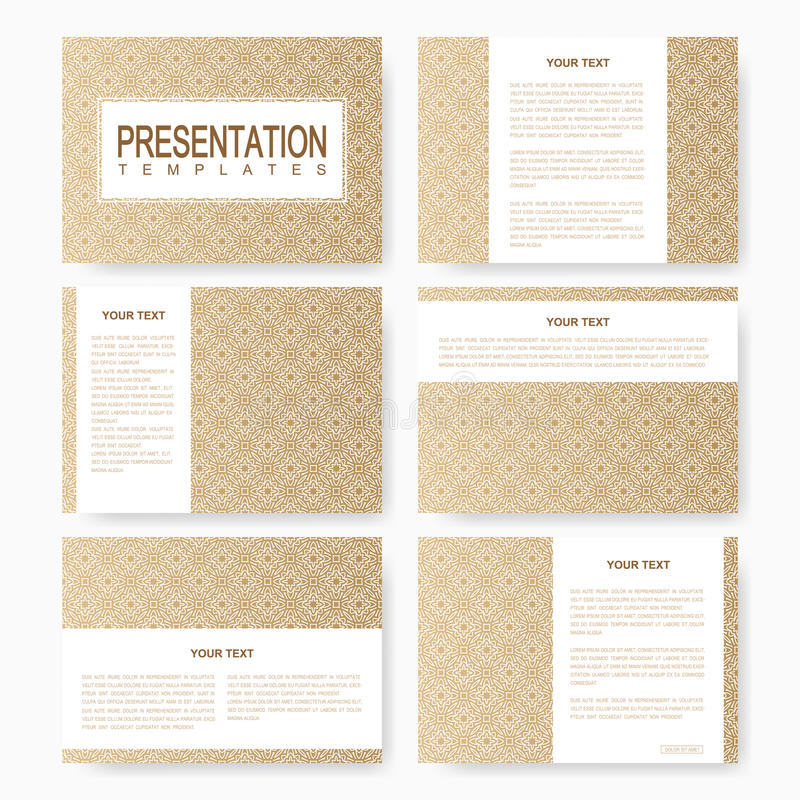 Golden set of vector templates for multipurpose presentation slides. Brochure, Leaflet, flyer, cover, magazine or annual report. Abstract presentation with stock illustration