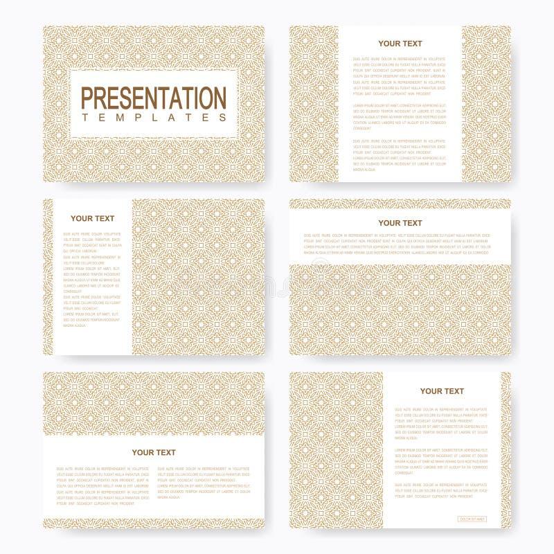 Golden set of vector templates for multipurpose presentation slides. Brochure, Leaflet, flyer, cover, magazine or annual report. Abstract pattern in Arabian stock illustration