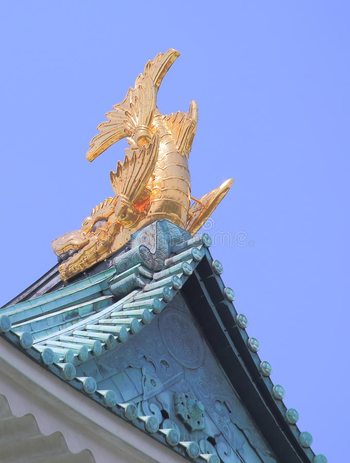 Nagoya Japanese Castle Japan. Golden Shachihoko, animal in Japanese folklore with the head of tiger and the body of a carp at Nagoya Castle in Nagoya Japan stock image