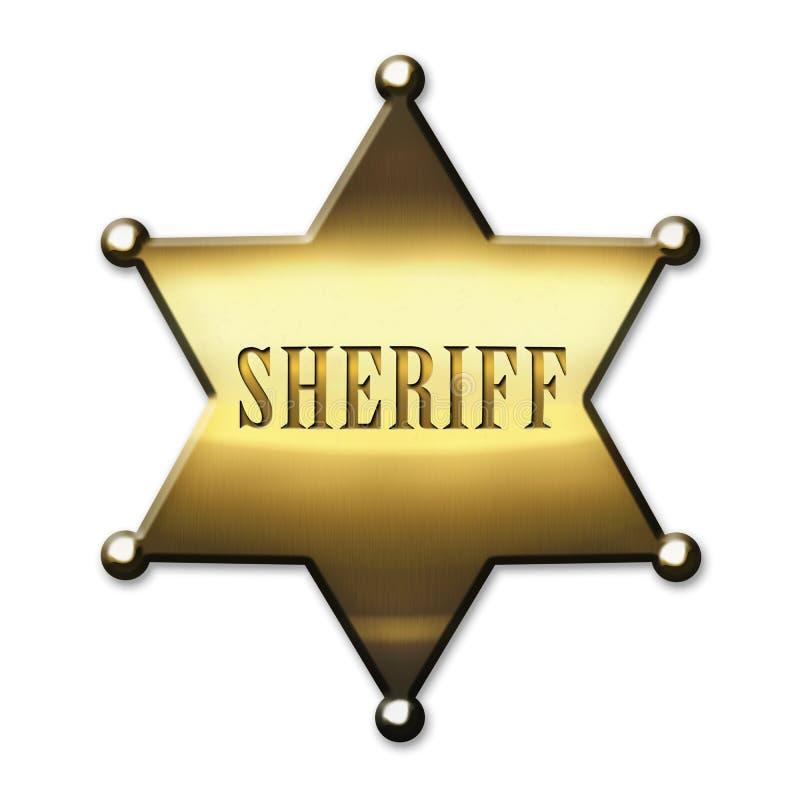 Golden Sheriff Badge royalty free illustration