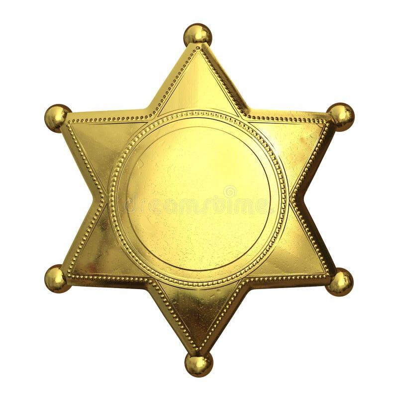 Golden sheriff's badge royalty free illustration