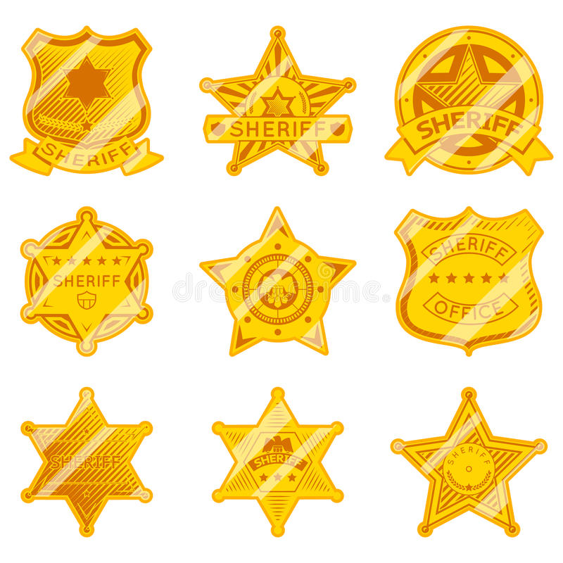 Golden sheriff star badges. Police and law, authority and justice, marshall star. Vector illustration royalty free illustration
