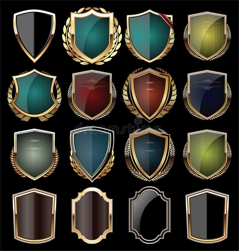 Golden shield collection. Golden retro vintage shields collection illustration royalty free illustration