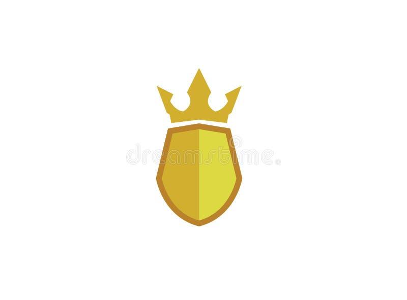 Golden shield with a crown for logo design illustration royalty free illustration