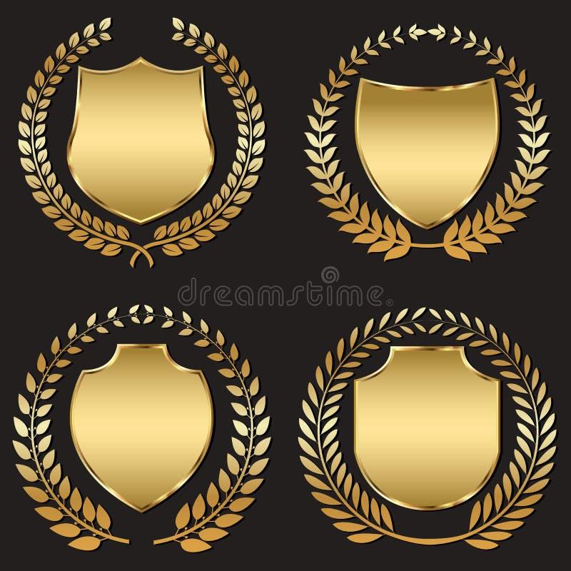 Golden shield vector illustration