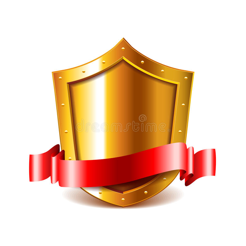 Golden shield with red ribbon vector royalty free illustration