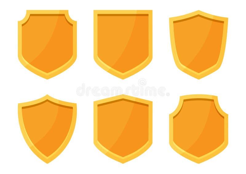 Golden shields collection. Vector illustration royalty free illustration