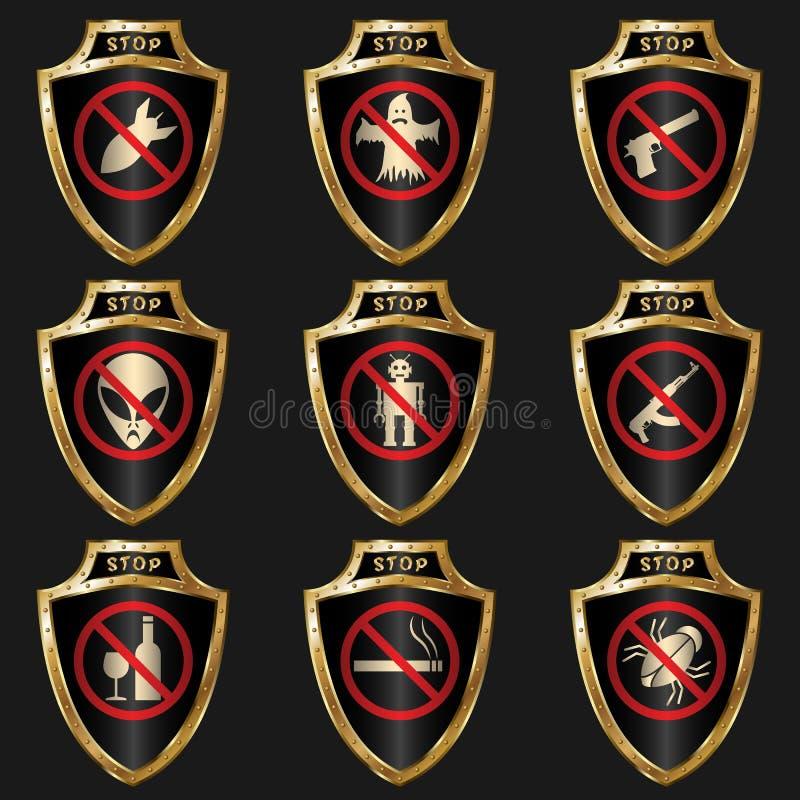 Golden shields stock illustration