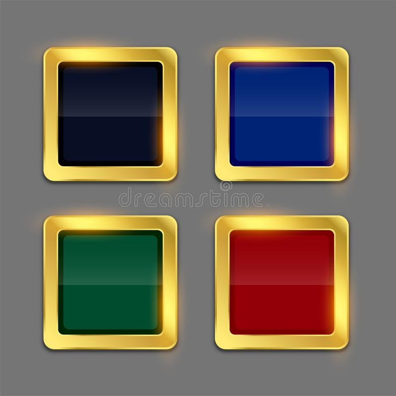 Golden shiny frame button in four colors set stock illustration