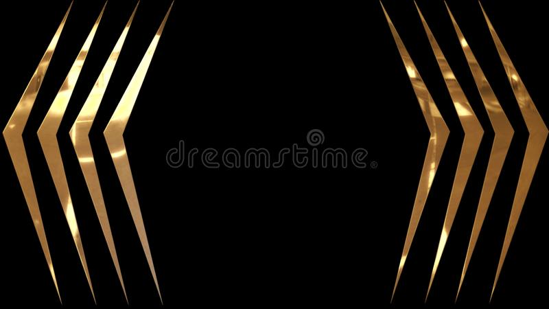 Golden, shiny and glowing curved stripes on a black background. Elegant background with angular golden stripes luxury decoration texture design abstract line stock illustration