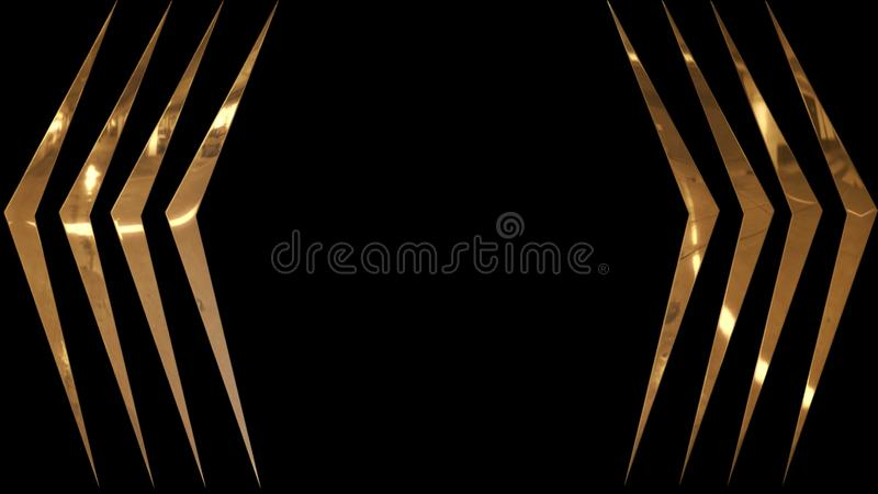 Golden, shiny and glowing curved stripes on a black background. Elegant background with angular golden stripes luxury decoration texture design abstract line vector illustration
