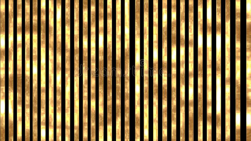 Golden, shiny and glowing stripes on a black background. Elegant background with vertical golden stripes luxury decoration texture design abstract line vector illustration