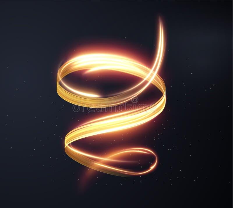 Golden shiny light lines vector background. EPS10 stock illustration
