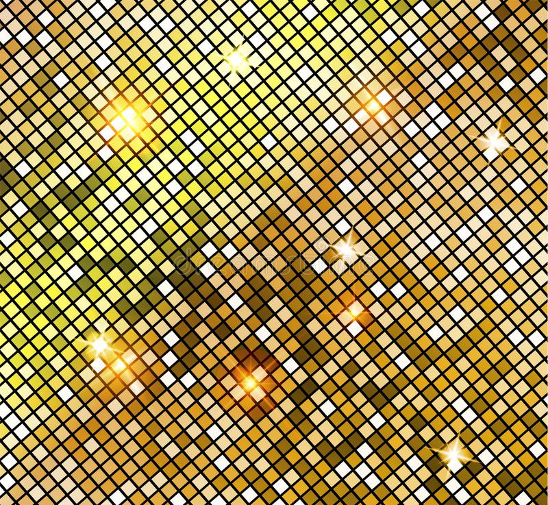 Golden shiny mosaic in disco ball style. Vector gold disco lights background. Abstract background stock illustration